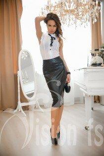 Кожаная юбка-карандаш Джанель